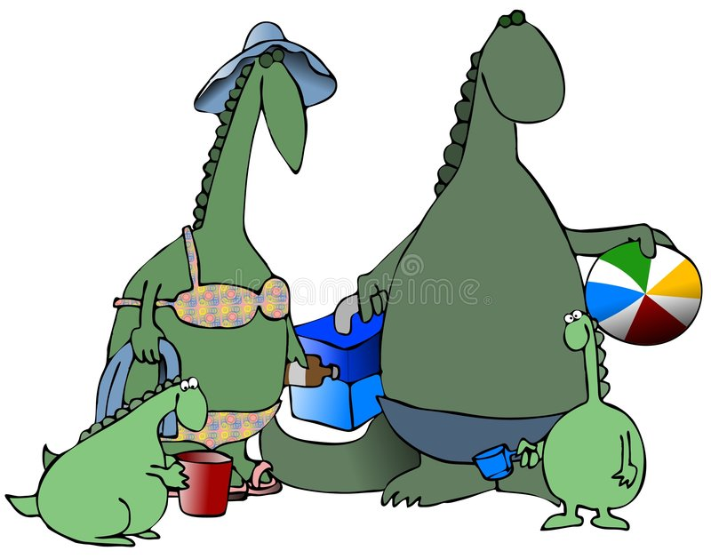Dinosaurs At The Beach royalty free illustration