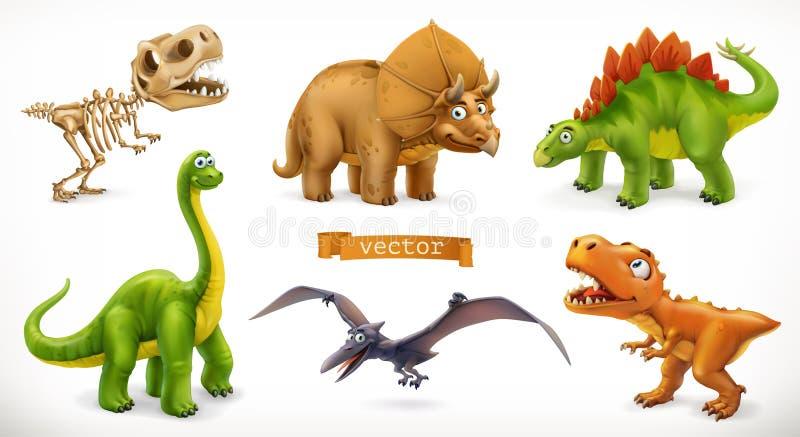 Dinosaurs cartoon character. Brachiosaurus, pterodactyl, tyrannosaurus rex, dinosaur skeleton, triceratops, stegosaurus. Funny vector illustration