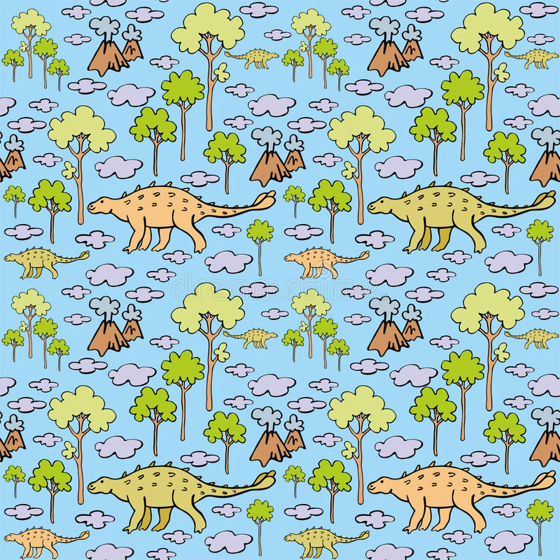 Dinosaurs and clouds stock illustration