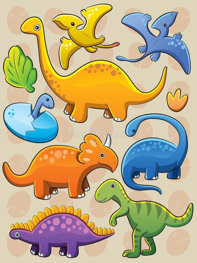 Dinosaurs Collection. Cartoon illustration of various baby dinosaurs stock illustration