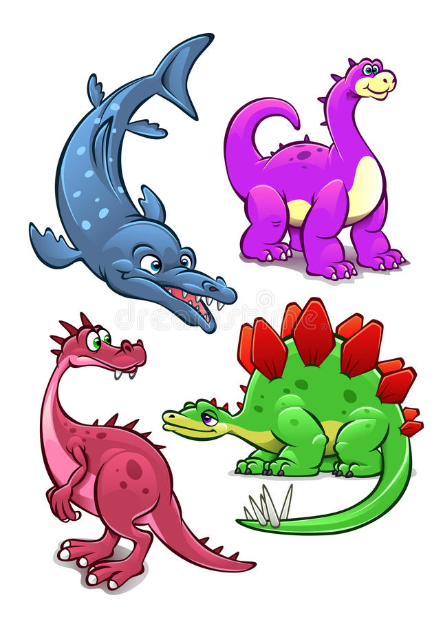 Dinosaurs. Collection of four different dinosaurs isolated on white stock illustration