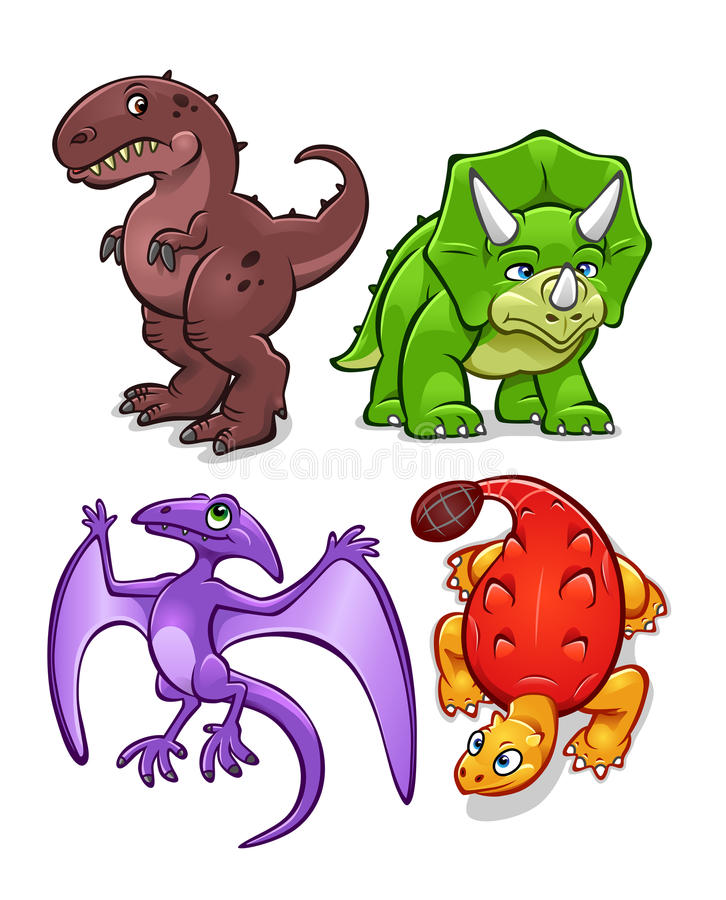 Dinosaurs 1. Collection of four different dinosaurs isolated on white vector illustration