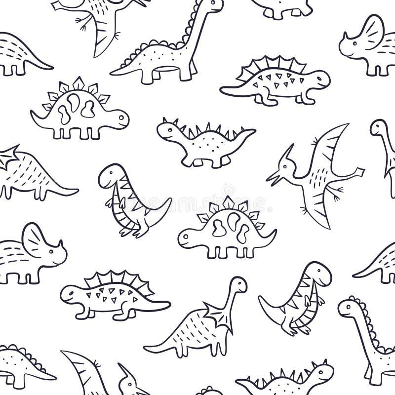 dinosaurs Configuration sans joint Illustration de vecteur dans le style de griffonnage Tiré par la main illustration de vecteur