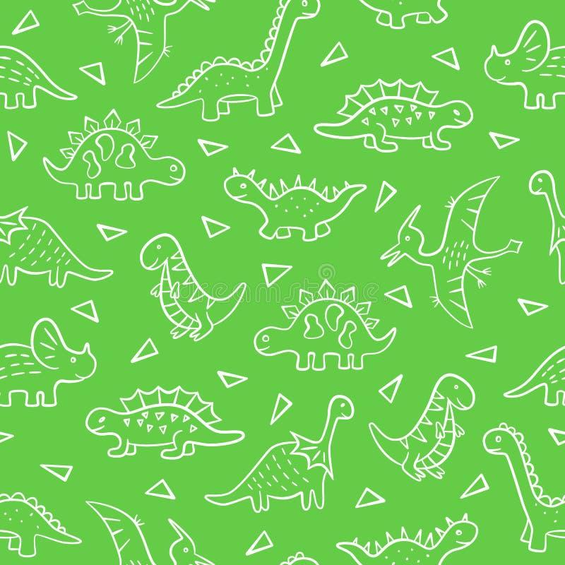 dinosaurs Configuration sans joint Illustration de vecteur dans le style de griffonnage Tiré par la main illustration stock