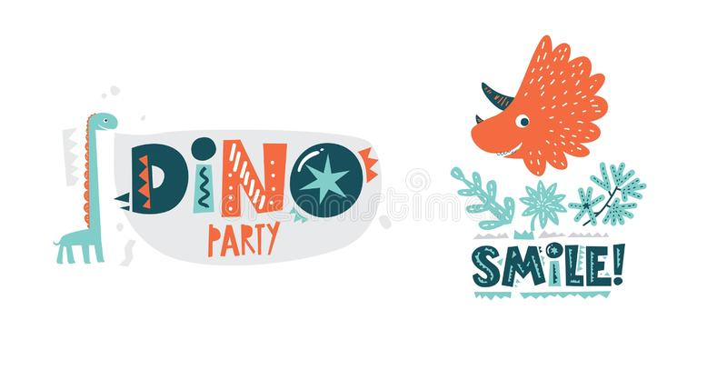 Dinosaurs cute vector illustration in flat cartoon style. Dino party and Smile! hand drawn lettering. Illustration for nursery t-shirt, kids apparel, logo vector illustration