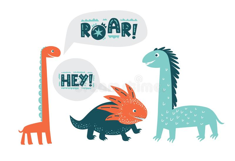 Dinosaurs cute vector illustration in flat cartoon style. Roar and Hey hand drawn lettering. Illustration for nursery t-shirt, kids apparel, logo, invitation royalty free illustration