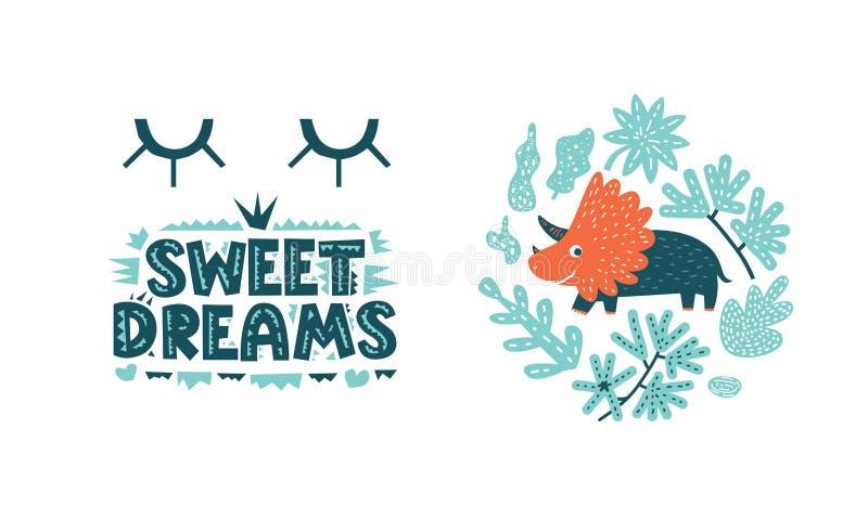Dinosaurs cute vector illustration in flat cartoon style. Sweet dreams hand drawn lettering. Illustration for nursery t-shirt, logo, invitation, poster, card royalty free illustration