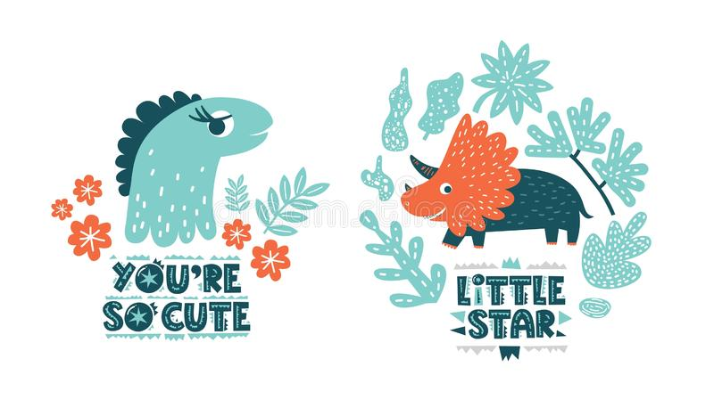 Dinosaurs cute vector illustration in flat cartoon style. You are so cute and Little star hand drawn lettering. Illustration for nursery t-shirt, logo vector illustration