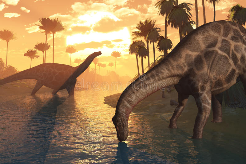 Dinosaurs - The Dawn of Time. Two Dicraeosaurus dinosaurs in a prehistoric sunrise landscape - 3D render royalty free illustration