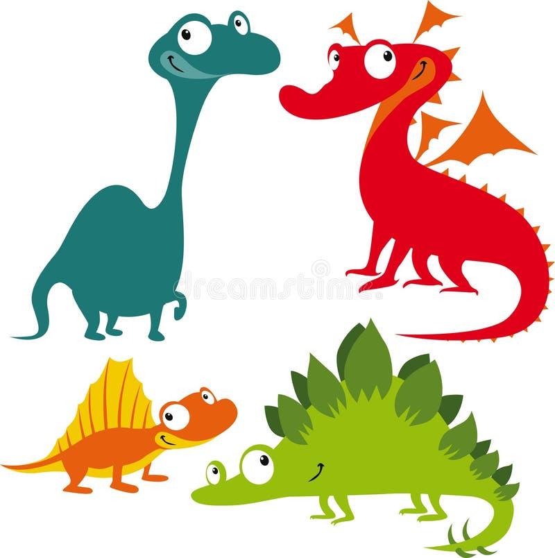 Dinosaurs drôles de dessin animé illustration libre de droits