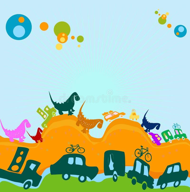 Dinosaurs et véhicules illustration de vecteur
