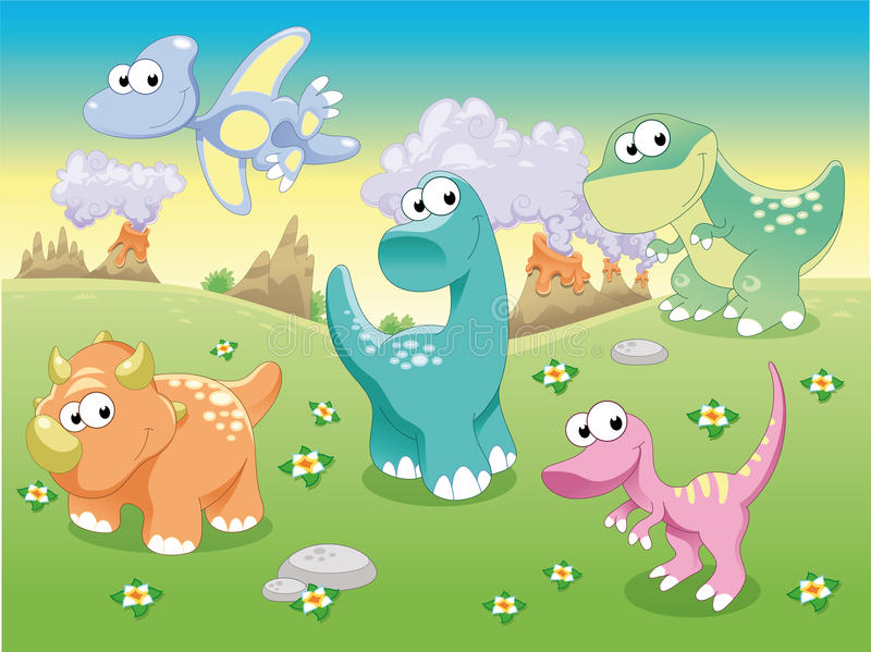 Dinosaurs Family With Background. Stock Image