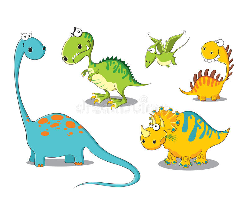 Dinosaurs. Five funny dinosaurs on a white background vector illustration
