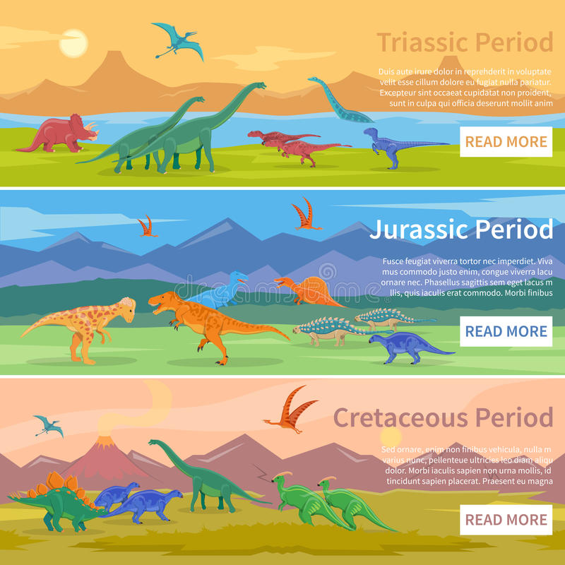 Dinosaurs Flat Horizontal Banners vector illustration