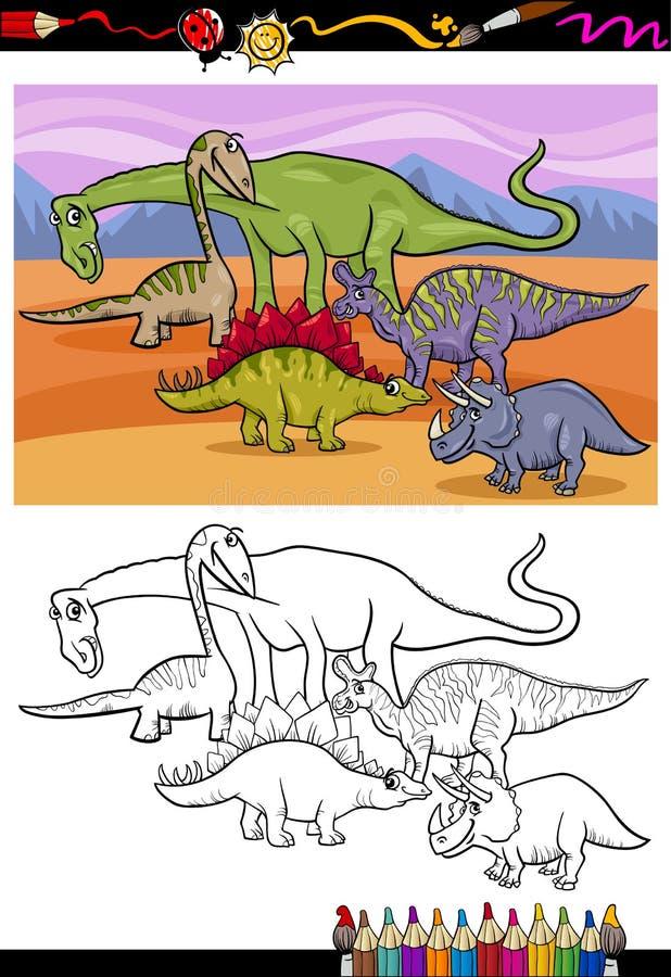 Dinosaurs Group Cartoon Coloring Book Stock Vector