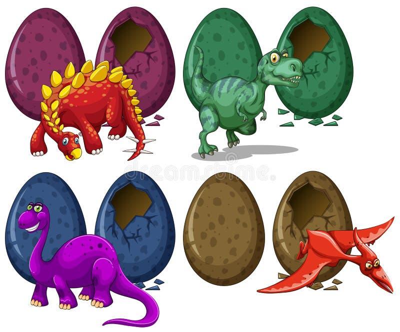 Dinosaurs hatching eggs on white background. Illustration royalty free illustration