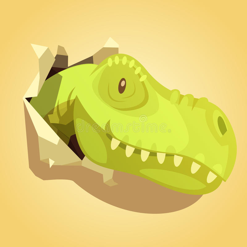 Dinosaurs Head Popping Out Background Print royalty free illustration