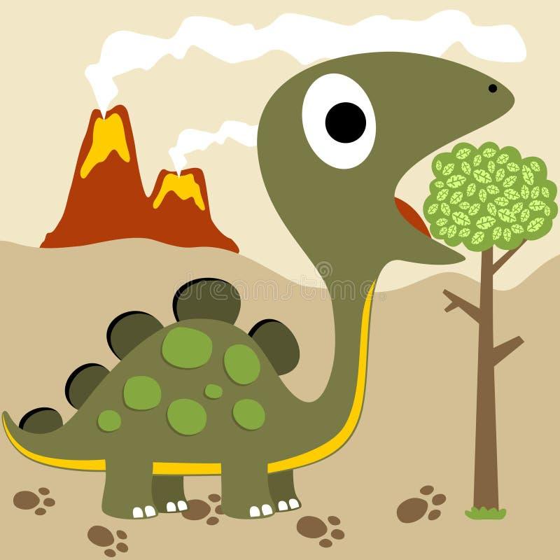 Dinosaurs life. Little dinosaurs eat leafs on volcanoes background, vector cartoon illustration royalty free illustration