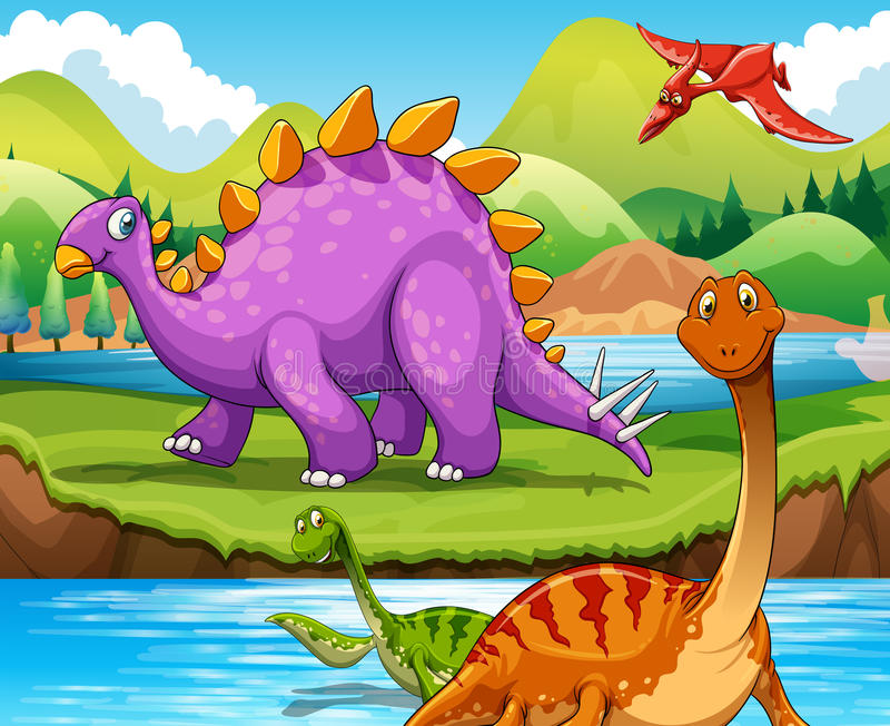 Download Dinosaurs Living By The River Stock Vector - Illustration of extinct, jurassic: 59124207