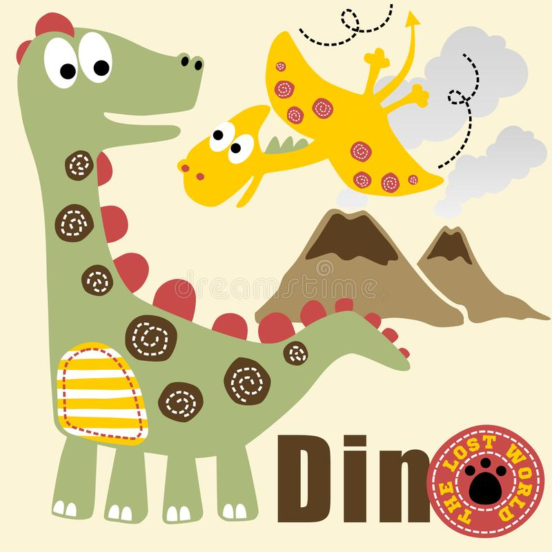 Dinosaurs life. Dinosaurs the lost world, vector cartoon. EPS 10 vector illustration