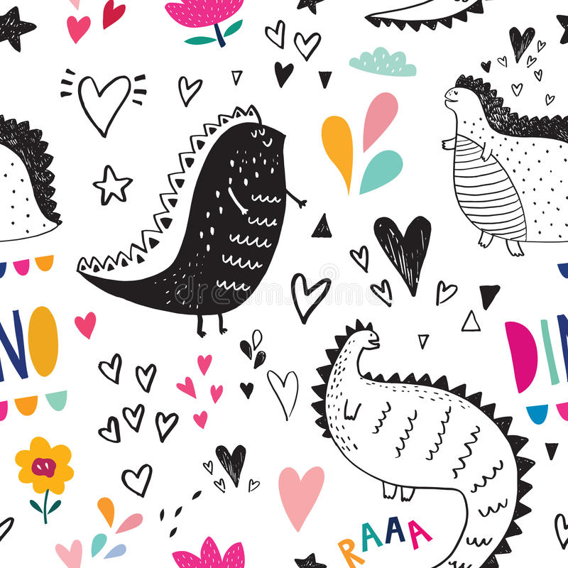 Dinosaurs in nature. Seamless pattern with cute black dinosaurs in nature vector illustration