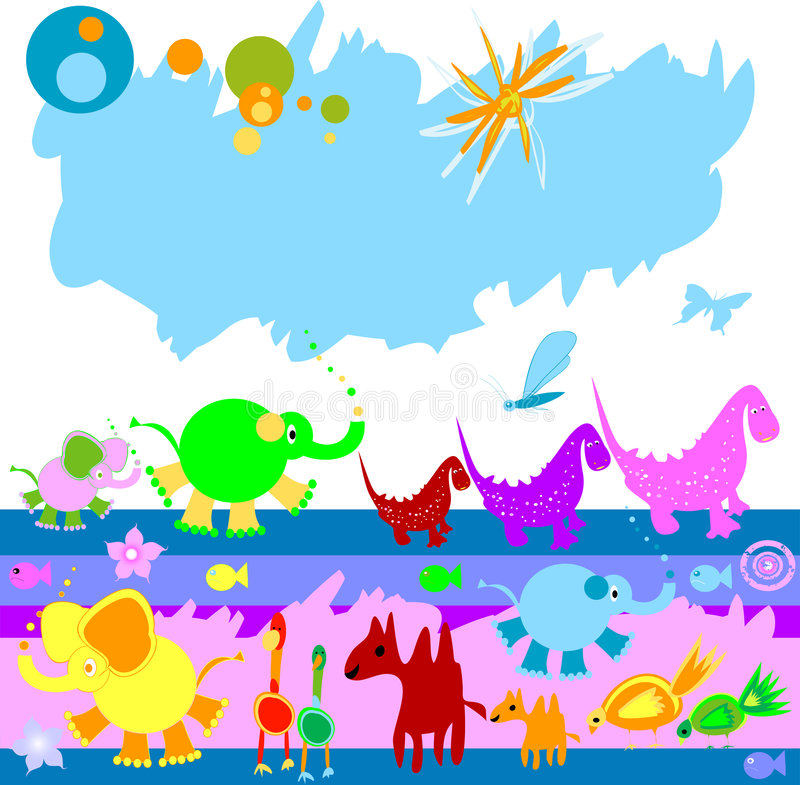 Download Dinosaurs And Other Little Ani Stock Vector - Image: 3872027