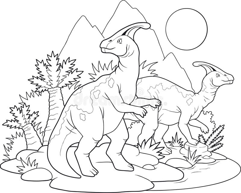 Dinosaurs. Outlined drawing of two dinosaurs and surroundings, Parasaurolophus species stock illustration