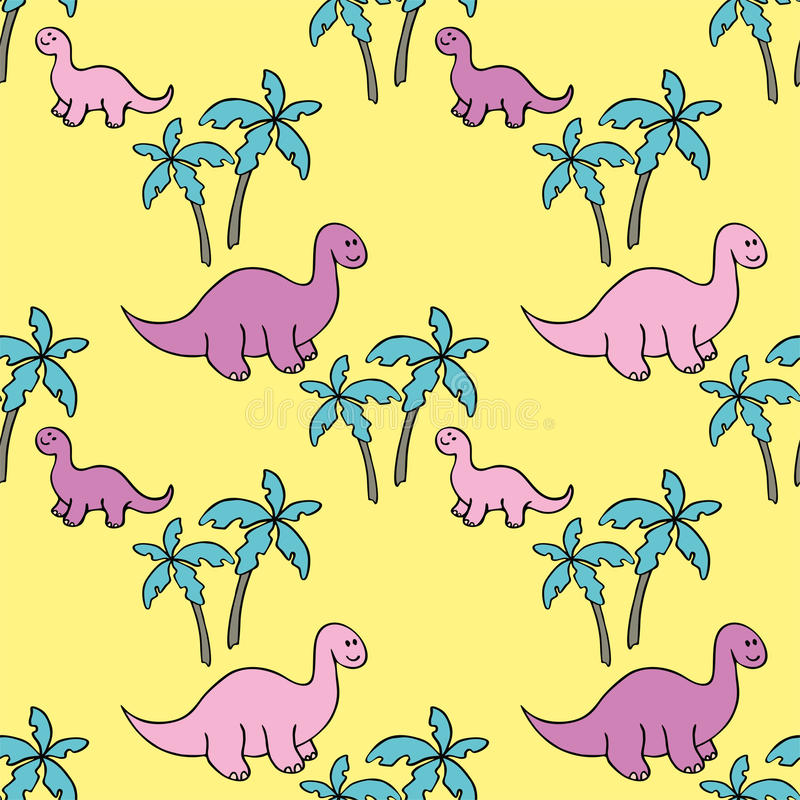 Dinosaurs and palm trees. Childrens colorful seamless pattern with the image of funny dinosaurs royalty free illustration