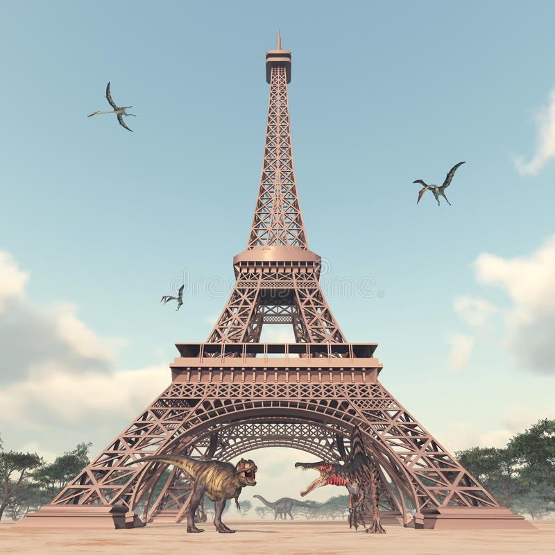 The dinosaurs in Paris. Computer generated 3D illustration with the Eiffel Tower, the dinosaurs Tyrannosaurus Rex, Spinosaurus, Apatosaurus and the pterosaur stock illustration