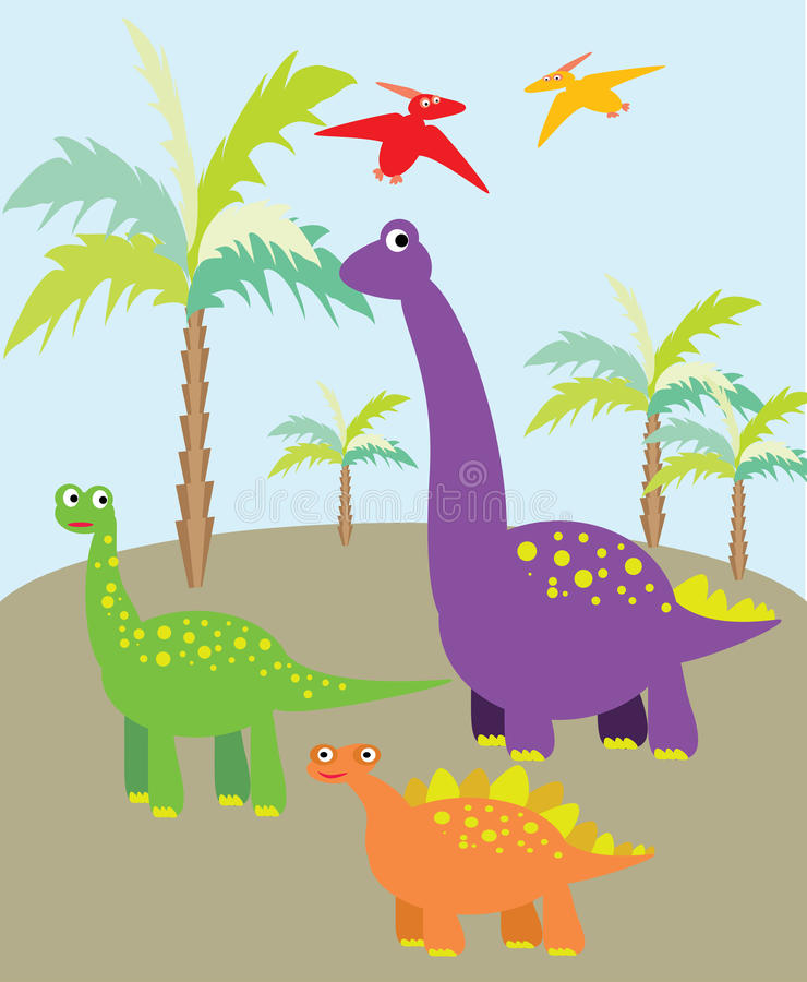 Dinosaurs picture. Vector graphic image with colorful dinosaurs and palms royalty free illustration