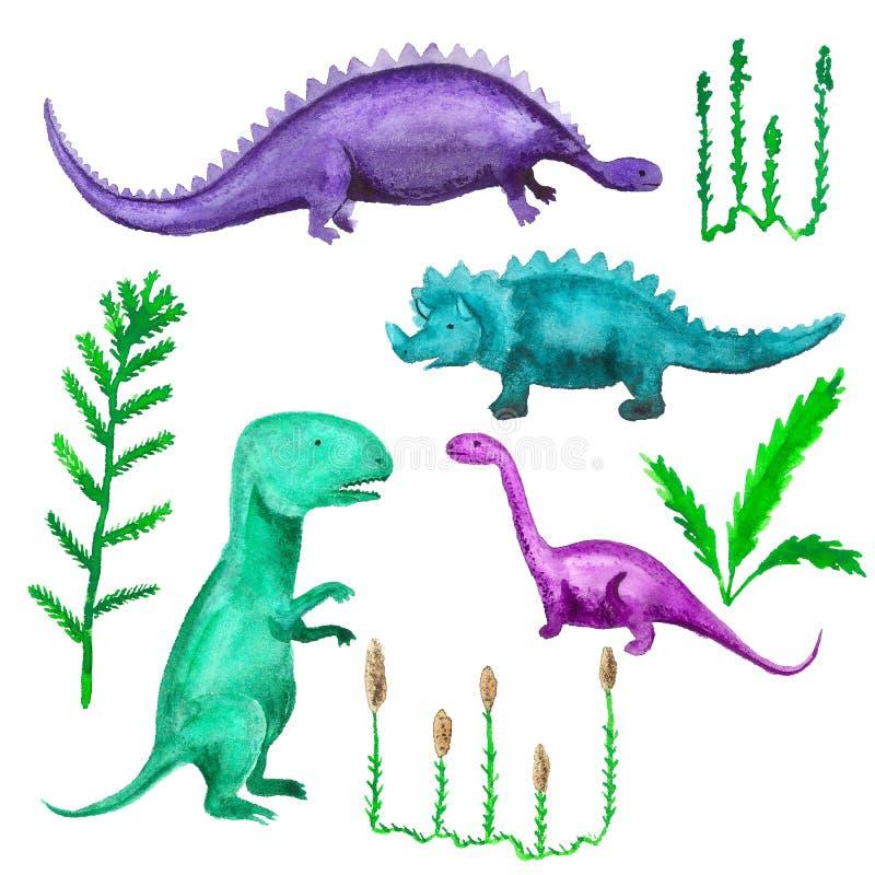 Dinosaurs and prehistoric plants stock illustration