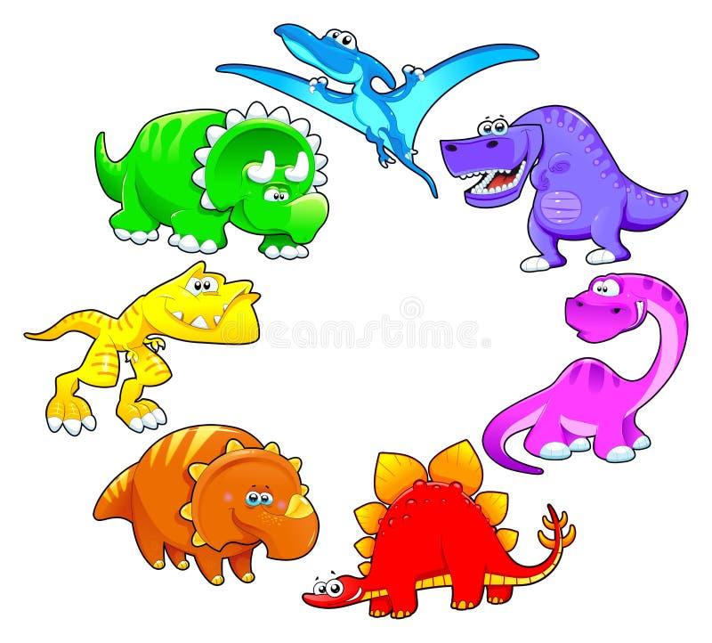 Dinosaurs rainbow. Funny cartoon and vector isolated characters stock illustration