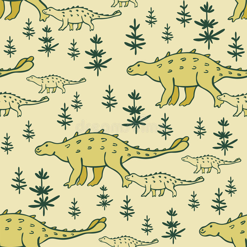 Dinosaurs seamless pattern. Childrens colorful seamless pattern with the image of funny dinosaurs stock illustration