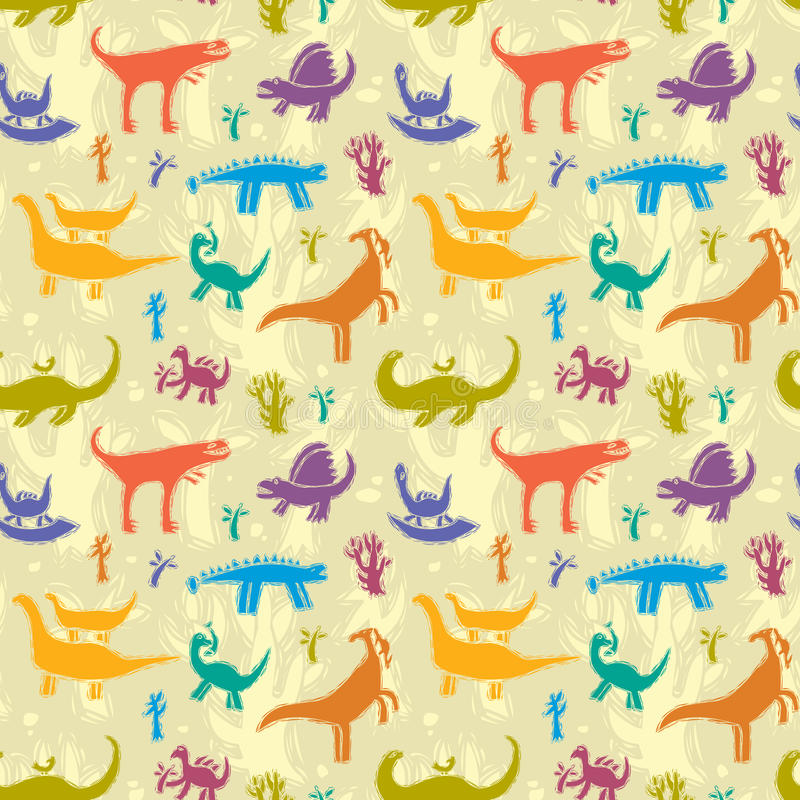 Dinosaurs. Seamless pattern with colorful dinosaurs on a background of ancient trees stock illustration