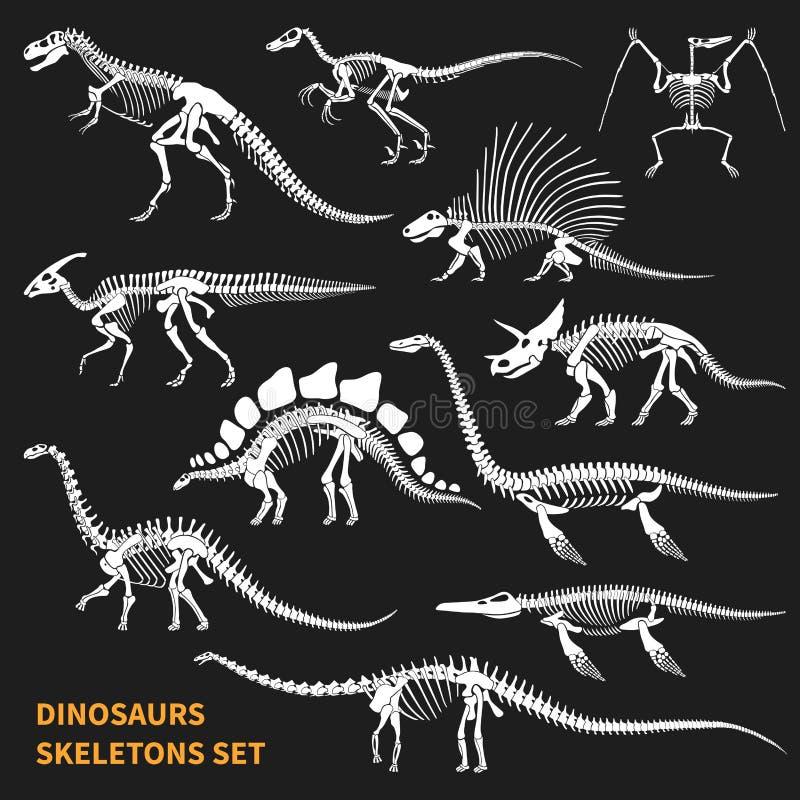 Dinosaurs Skeletons Chalkboard Icons Set. Dinosaurs skeletons isolated icons set on blackboard background in chalkboard style hand drawn vector illustration stock illustration