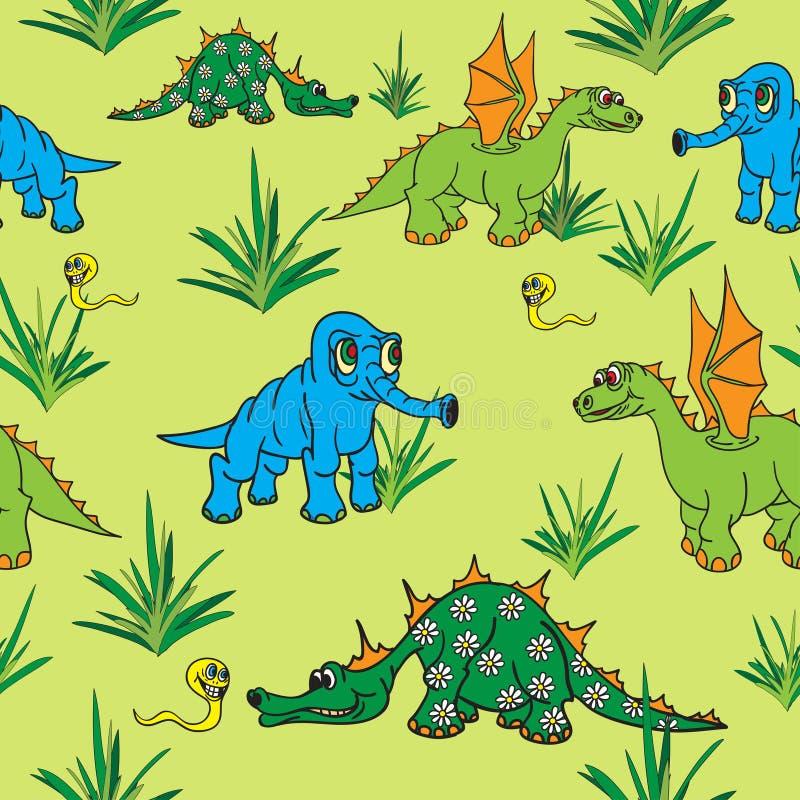 Dinosaurs som går i natur. Seamless. royaltyfri illustrationer