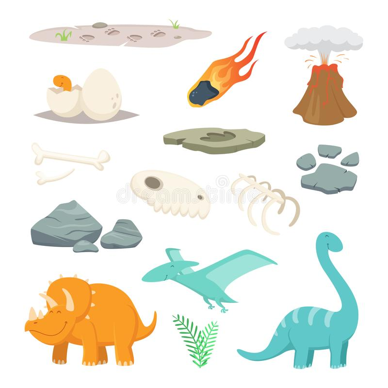Dinosaurs, stones and other different symbols of prehistoric period. Dinosaur and meteorite stone, prehistoric animall. Vector illustration stock illustration