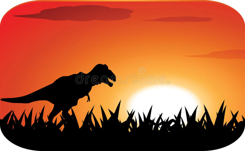 Dinosaurs with sunset royalty free illustration