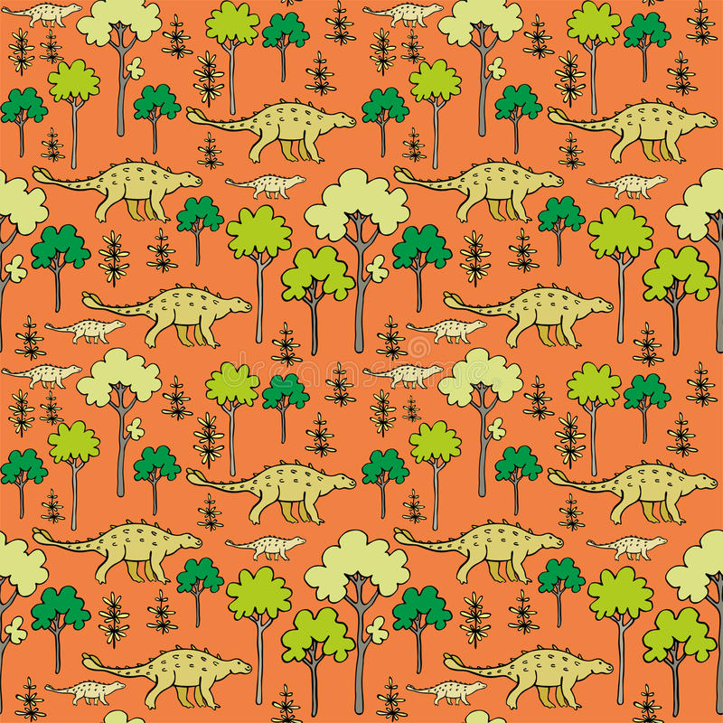Dinosaurs and trees. Childrens colorful seamless pattern with the image of funny dinosaurs royalty free illustration