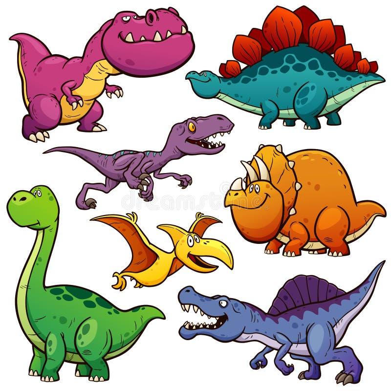 Dinosaurs. Vector illustration of Cartoon Dinosaurs Character Set vector illustration