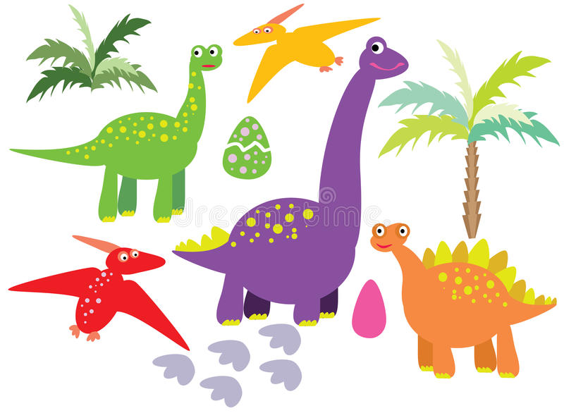 Dinosaurs vector set. Vector graphic image with colorful dinosaurs, plants, dino eggs set on white background vector illustration