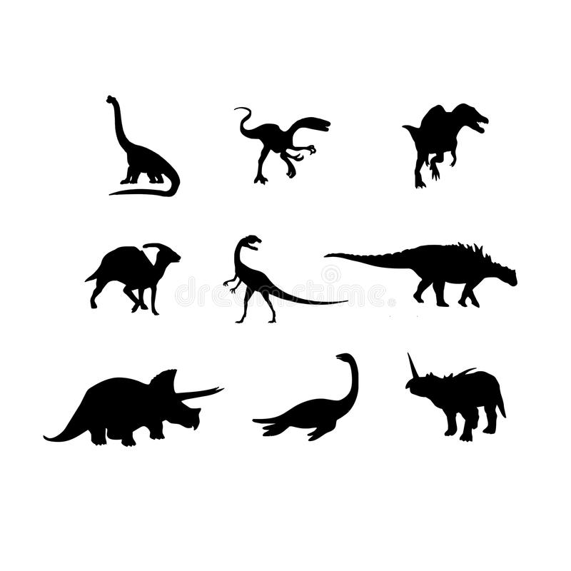 Dinosaurs vector silhouette. Vectored illustrations as silhouette of various dinosaurs as triceratops and tyrannosaurus rex royalty free illustration