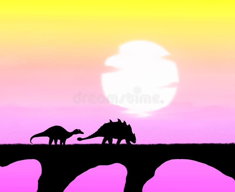 The dinosaurs walking in his habitat royalty free stock images
