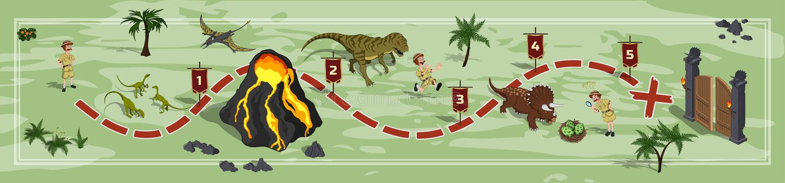 Dinosaurs world map in cartoon style. Landscape with a path image. Adventure in dino park in isometric style. Board maze stock illustration