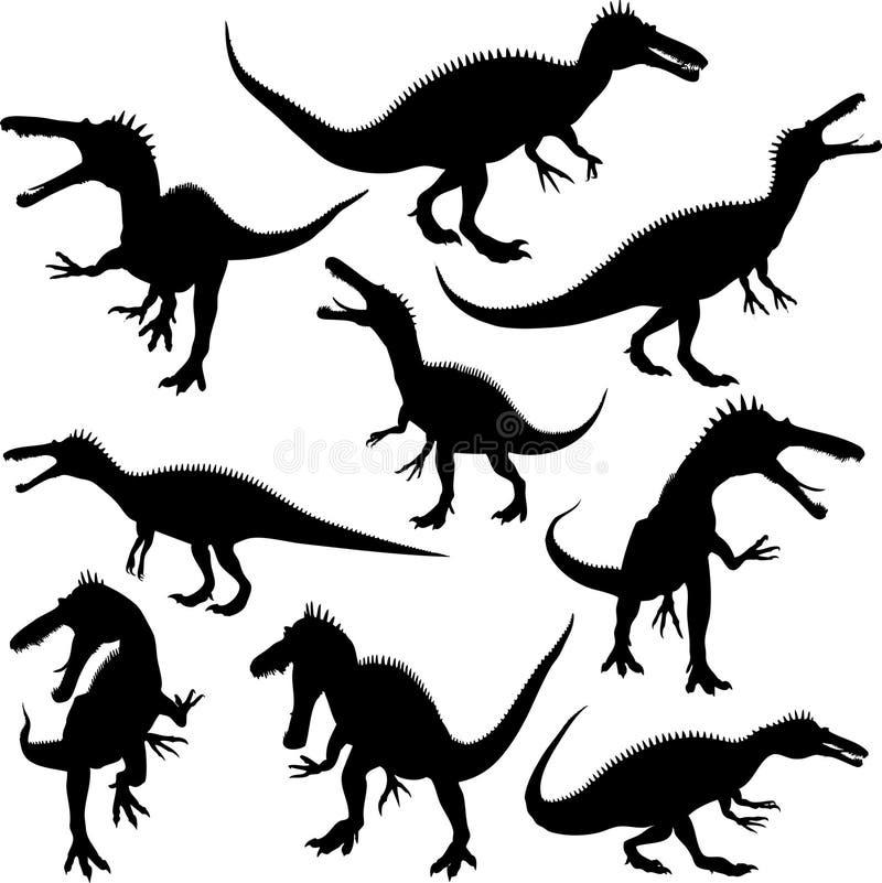dinosaursilhouettes vektor illustrationer