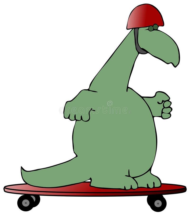 dinosaurskateboradåkare royaltyfri illustrationer