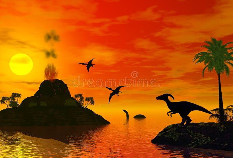 dinosaurtid stock illustrationer