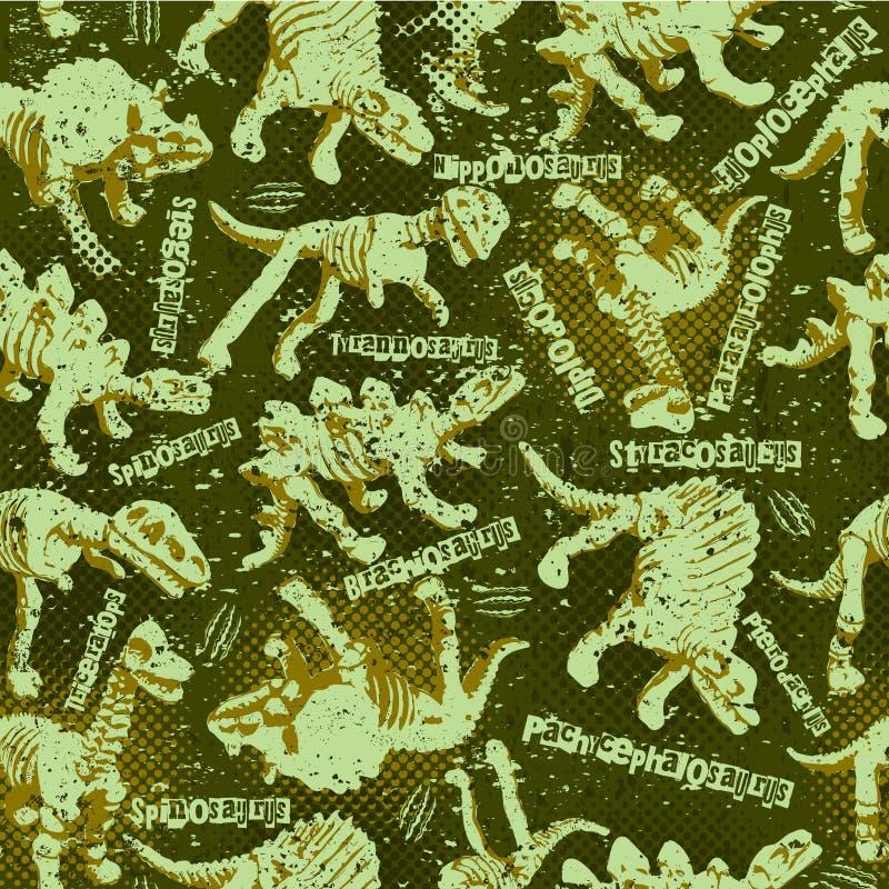 Dinosaurus camouflage seamless pattern for urban boys design stock illustration