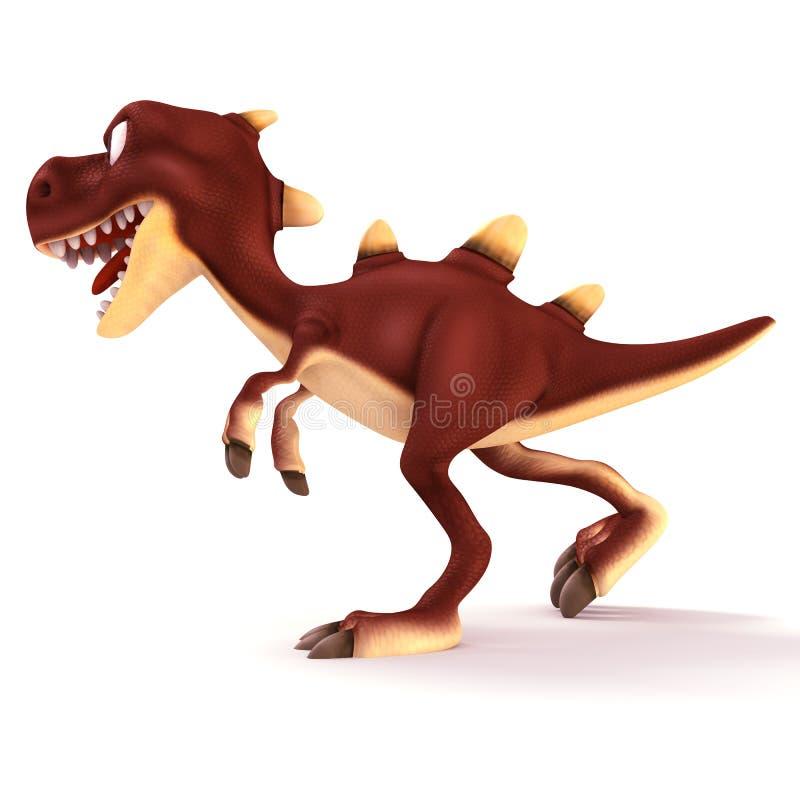 Dinosaurus di camminata che sembra pazzo illustrazione vettoriale