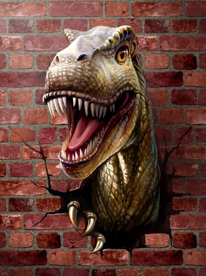 dinosaurus dichte omhooggaand, door de bakstenen muur royalty-vrije stock afbeelding